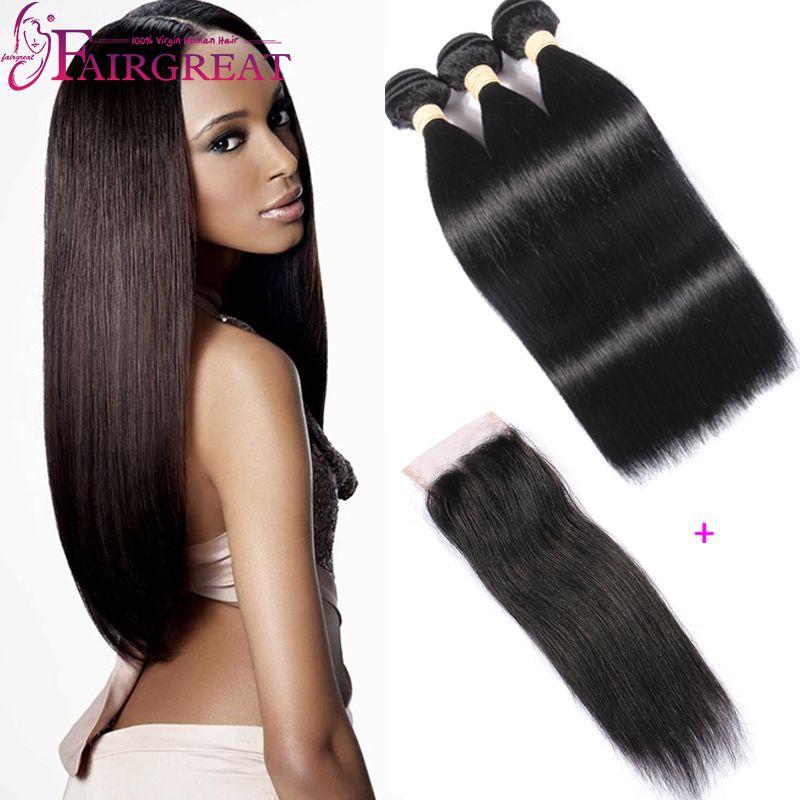 Bundles peruviani diritti dei capelli umani con chiusura 3Pcs / lot capelli vergini peruviani con chiusura prodotti per capelli umani peruviani con chiusura in pizzo