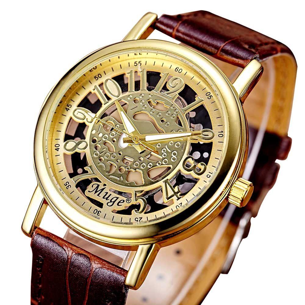 2pcs / set montres amants bracelet en cuir creux montre-bracelet femmes hommes montre à quartz de mode couple montres