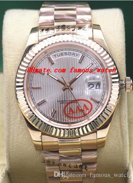 2019 Luksusowe zegarki Rose Gold Ze Stali Nierdzewnej Bransoletka 40mm 228235 Dial Stripe Dial Automatyczny Zegarek Moda Męski Zegarek