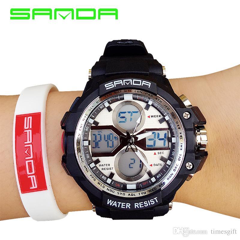 Men New Arrival Watches 2017 New Sanda 30m Waterproof Japan Quartz Rubber Military Army Shock Men's Wrist Watch Fabric Bracelet