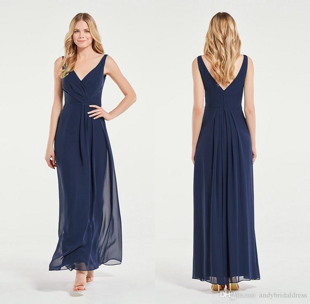 Compre Marinha Azul Correias V Profundo Pescoço Ruched Longo Chiffon Vestidos Dama De Honra Vestidos Baratos Mangas Vestidos De Festa De Casamento