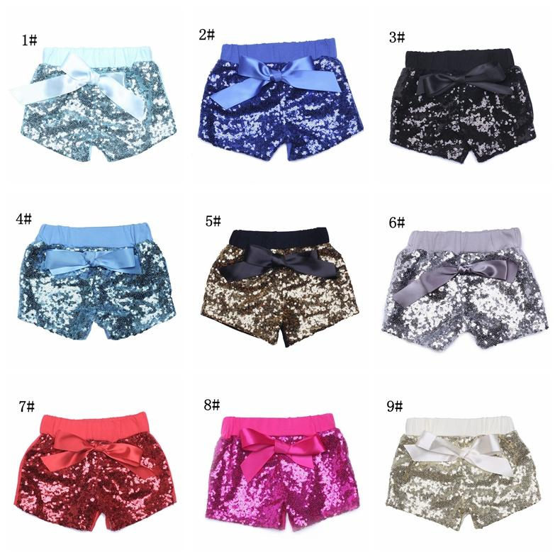 Baby Sequins Shorts Pants Casual Pants Fashion Infant Glitter Bling Dance hot pants Boutique Bow Princess Shorts Kids Clothes 14 color 17-33