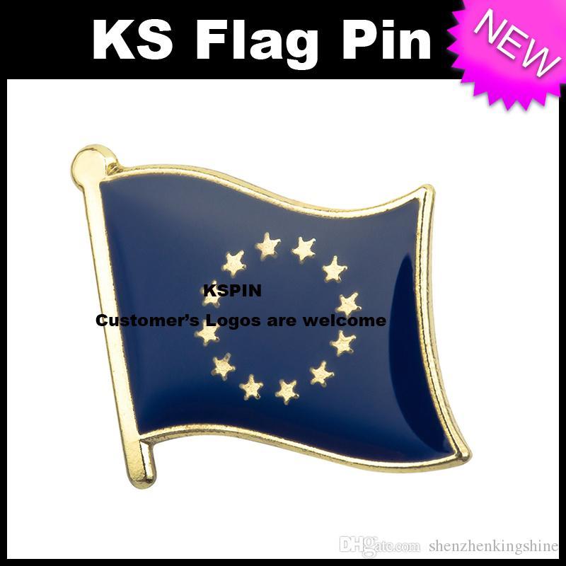 Pin 10pcs della bandierina del distintivo della bandierina dell'Unione europea molto trasporto libero XY0023
