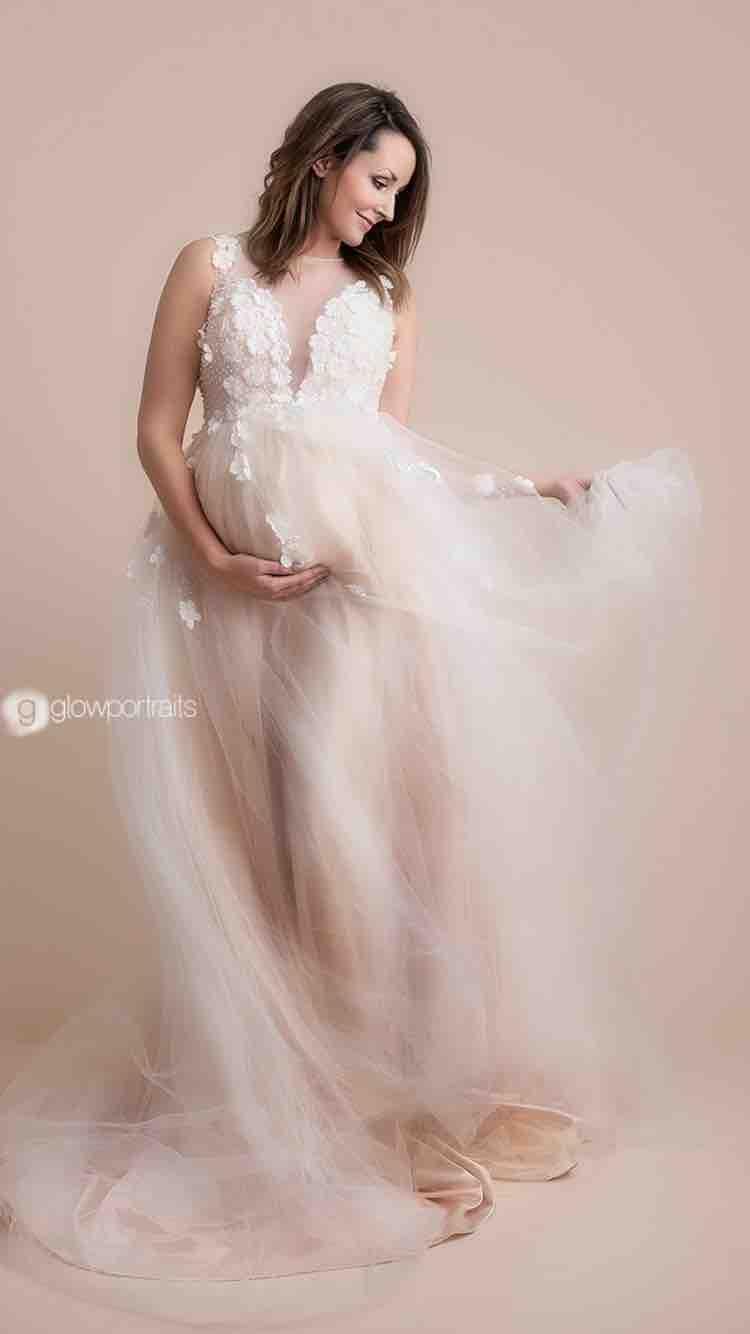 comprare popolare cdd3b fb077 Acquista Abiti Da Sposa Premaman Elegante In Rilievo Appliqued ...
