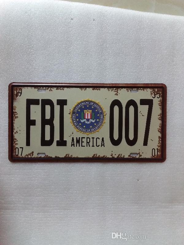 AMERICA FBI 007  LICENSE CAR PLATE Vintage Tin Sign Bar pub home Wall Decor