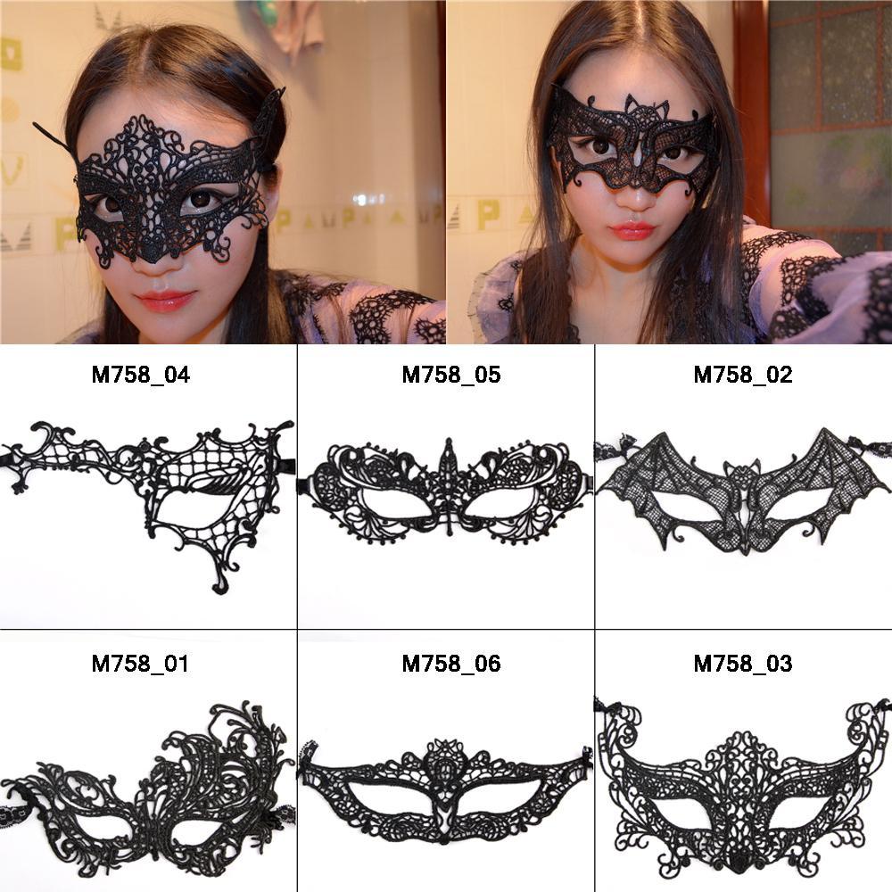 All'ingrosso-6pcs / Lot Nero sexy maschere di Slipknot del mascheramento del merletto metà del fronte maschera di Halloween Cosplay Catgirl partito femminile maschere in lattice decorazioni