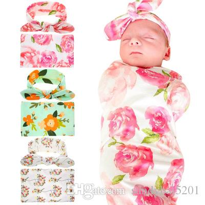 Baby Boys Girls Bedding Blankets Newborn Boy Girl Swaddle Muslin Wrap +Headband 2PCS Sets 2017 Children Kids Floral Print Sleeping Blanket