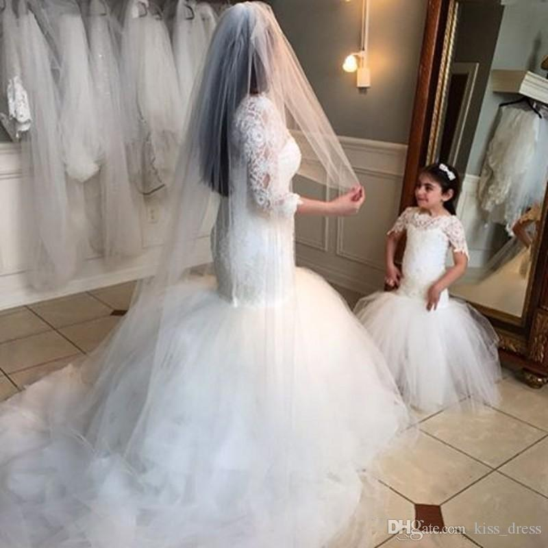 2019 Lace Mermaid White Flower Girl Dresses Principessa Manica corta Tulle Lungo Abiti per bambini Wedding Pageant Dress Lovely Custom Hot Sales F51
