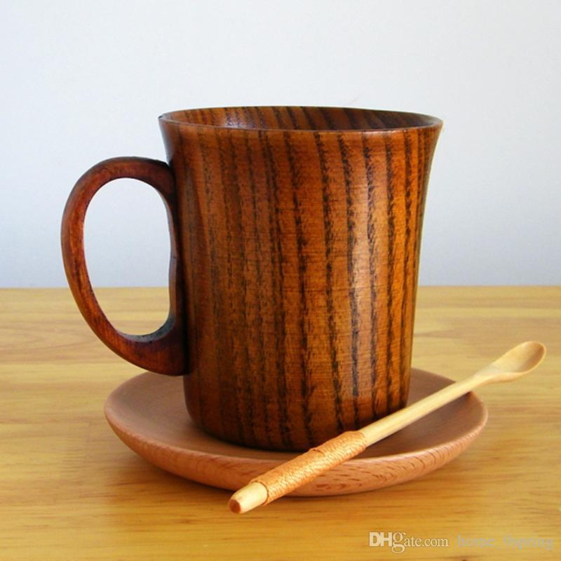 Tazza da birra in legno 280ml Tazza primitiva in legno di alta qualità con manico in legno naturale Tazza da caffè Tazza di tè in legno Bicchieri regalo