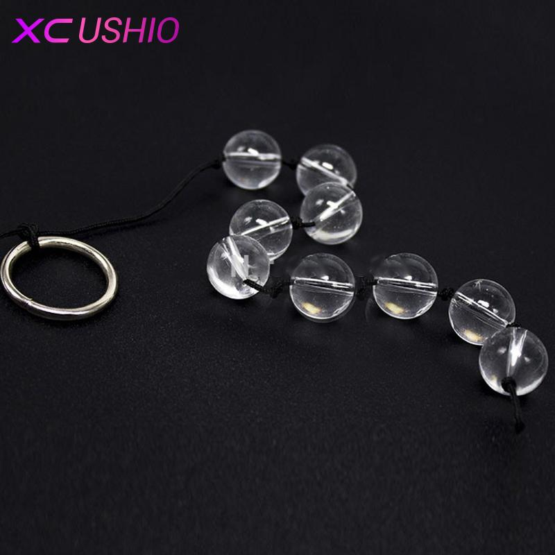 6.7 * 0.7 pulgadas Glass Mini Butt Anal Plug Transparancy Glass Juguetes sexuales anales Chain Bead Sex Game Products 0701