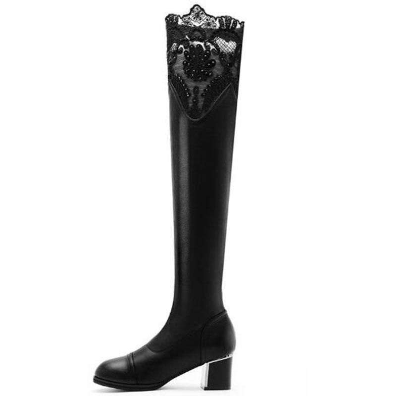 Women sexy black lace knee boots ladies elegant genuine leather tall shoes cowskin female knight boots Thigh-High free shipping