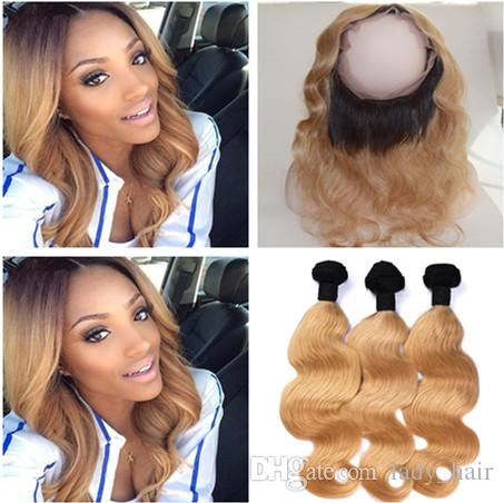 Peruvian Honey Blonde Ombre Virgin Hair Weaves With 360 Lace Frontal Body Wave #1B/27 Light Brown Ombre 360 Lace Closure With 3Bundles