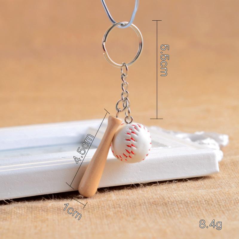Glove Baseball Bat PU Leather Baseball 4 Styles Keyring Promotion Sports Mini Softball Cartoon Key Chain White Green Blue Pink F934E