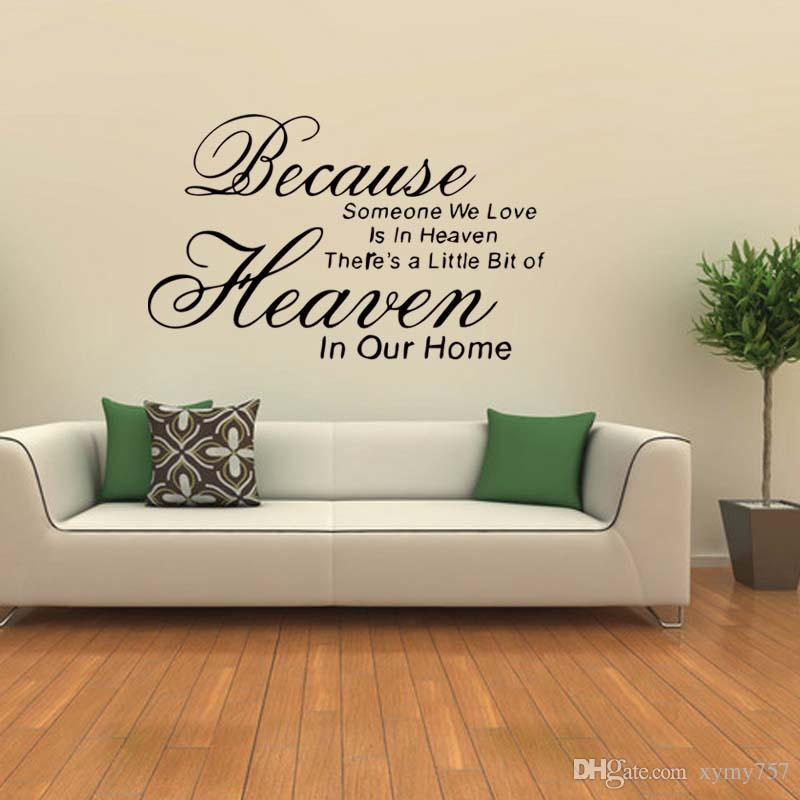 Because Love In Heaven Wall Quotes Vinyl Decals Stickers Decor Family Bedroom Sitting Room Art Diy Wall Stickers Flowers Wall Stickers For Adults From