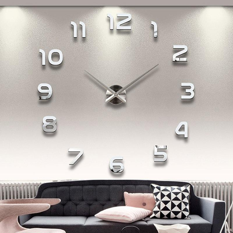Wholesale- 2016 New 3D Home Decor Quartz DIY Modern Frameless Large Wall Clock Horloge Watch Living Room Metal Acrylic Mirror Clocks