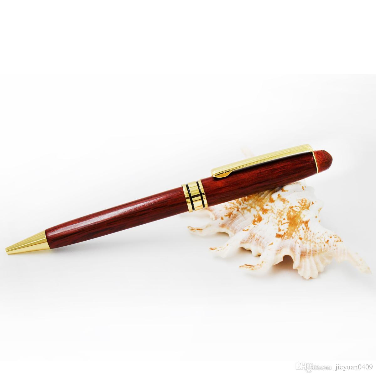 5pcs pack de madera reciclado eco pluma de alta calidad de alta calidad de bolígrafo de rosa de rosa de rosa de rosa de rosa con piezas de oro, envío, envío disponible