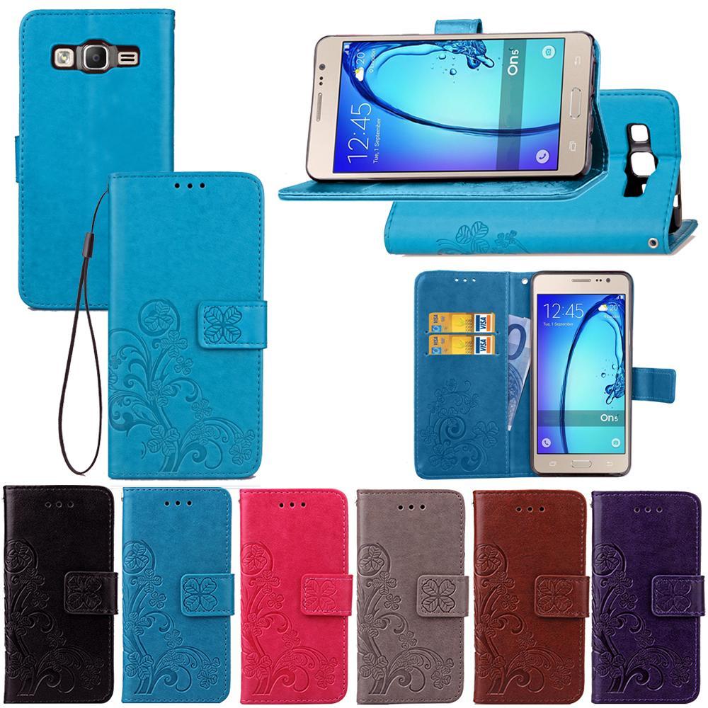 삼성 전자 갤럭시 ON5 럭키 네 잎 클립 손 스트랩 카드 슬롯 전화 스탠드와 지갑 케이스 커버