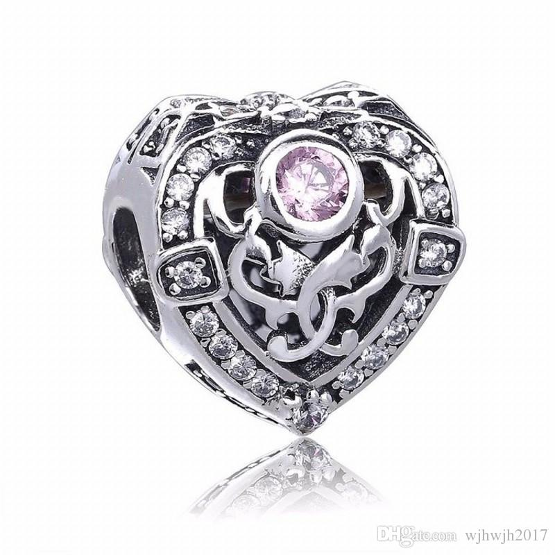 New Pink Crystal Heart Charms Beads Authentic 925-Sterling-Silver-Jewelry Orchid Flower Bead For DIY Bracelets Making Accessories