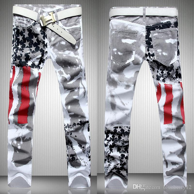 Fashion hot mens designer jeans men denim with wings american flag plus size