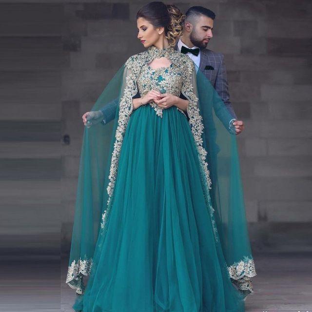 Dunkelgrüne muslimische Abendkleider mit Cape-Spitzenapplikationen Zweiteilige Abendkleider Langer Tüll Dubai Arabisch A-Linie Perlenformelle Kleidung