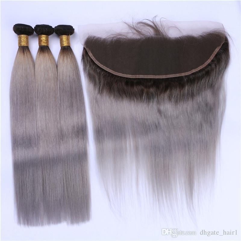 Argent Gris Ombre 3 Bundles Cheveux Humains Péruviens Avec Frontale Soyeuse Droite 1B / Gris Ombre 13x4 Fermeture Frontale Avec Tissage 4Pcs Lot