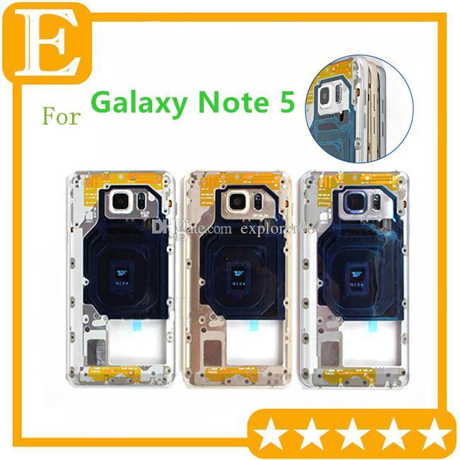 الإطار 10PCS الأوسط للحصول على سامسونج غالاكسي ملاحظة 5 N920 N920V N920F VS N920T N920P N920A الحافة الأوسط المعدنية خلف عدسة الكاميرا الإسكان هيكل