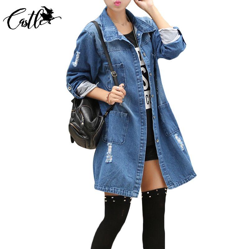 En gros- Spirng Denim Jacket pour les femmes 2017 Trois-quarts Short Jeans Jacket Femmes Slim Surdimensionné Denim Manteau Plus La Taille 2XL 3XL 4XL 5XL