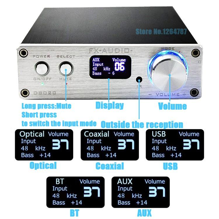 FX-Audio-D802C-Wireless-Bluetooth-Version-Input-USB-AUX-Optical-Coaxial-Pure-Digital-Audio-Amplifier-24Bit