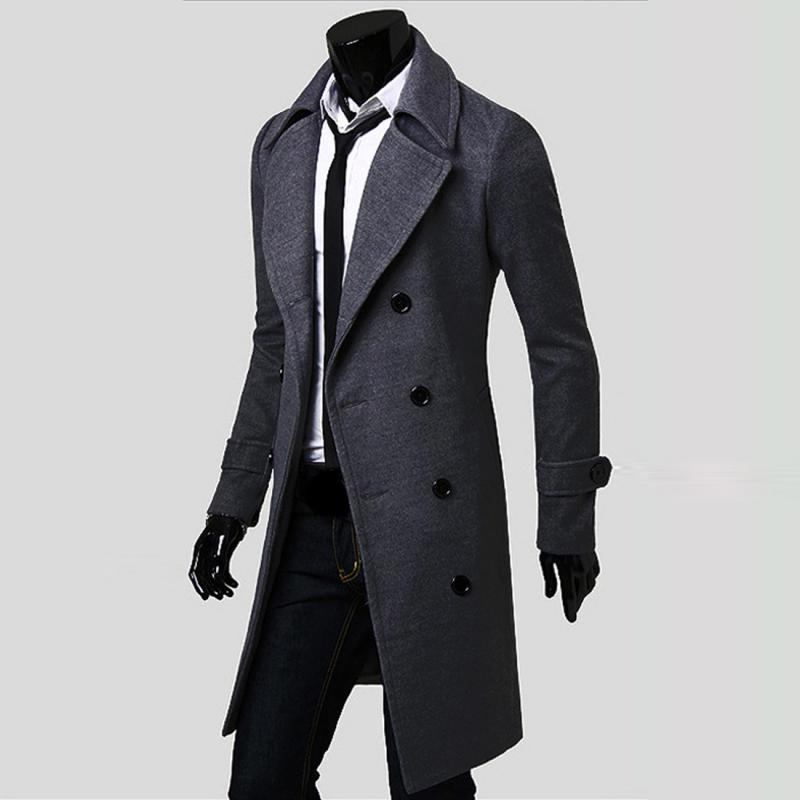 Mens Trench Coat Slim Long Jackets, Knee Length Mens Trench Coat