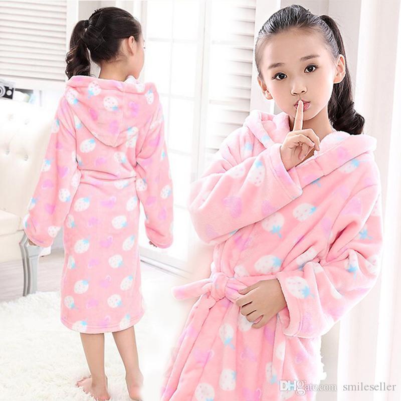 Kids Girls Cute Bathrobe Dressing Gown Pyjamas Soft Flano Nightwear Colorful