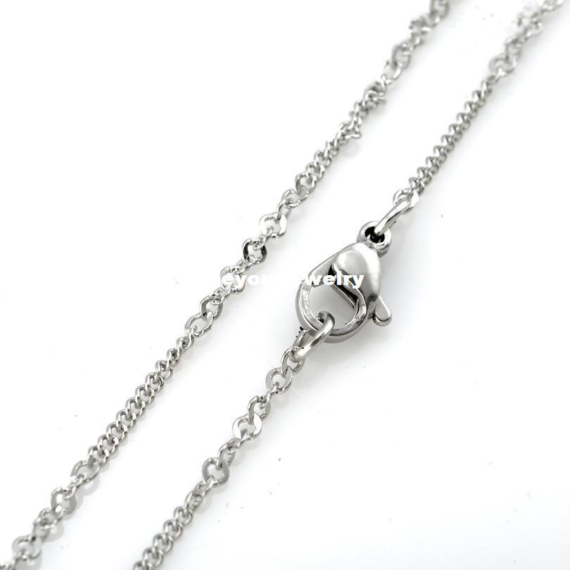 """Cable plano Curbed cadena de eslabones de las mujeres al por mayor de 2,4 mm Anchura de acero inoxidable 316L de los hombres de collar (16 """"-22"""" pulgadas)"""
