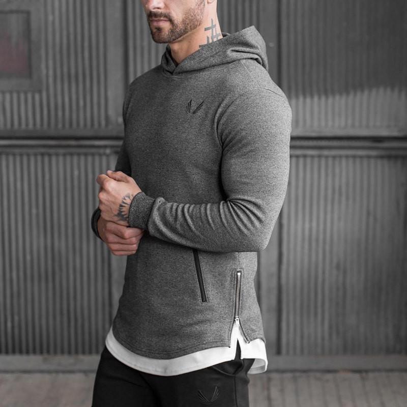 2016 nueva llegada al por mayor larga de los hombres sudaderas con capucha sudadera capa ocasional del músculo Sweatershirt ropa de la aptitud sudadera con