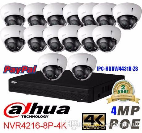 Dahua 16CH 4K NVR4216-8P-4K network security system 16pcs 4MP waterproof IP camera IPC-HDBW4431R-ZS H2.64 onvif ip camera system