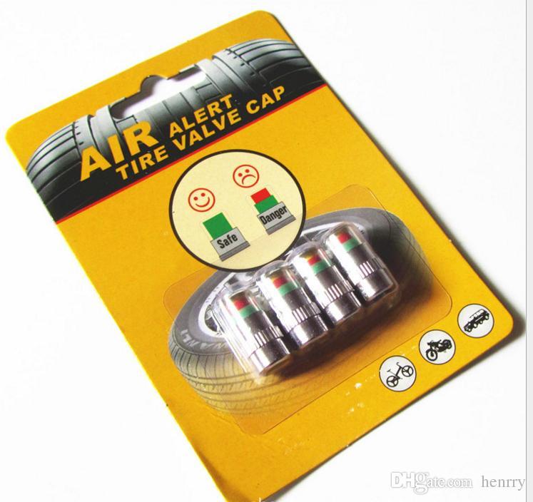 1set (4 Stück) Luftalarm Reifen Ventilkappe Autoreifendrucküberwachung Autoreifendruck 2.4BAR 36PSI TPMS-Werkzeug 3 Farben Alarm