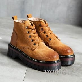 Новая весна сапоги женская повседневная обувь модные кожаные подошвы в конце Мартин сапоги Женские нижней плюс бархат
