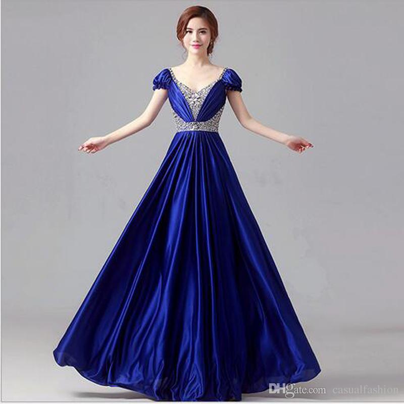 Por encargo elegantes vestidos de dama de honor para las mujeres una línea espalda con cremallera piso-longitud vestidos de dama de noche con alta calidad