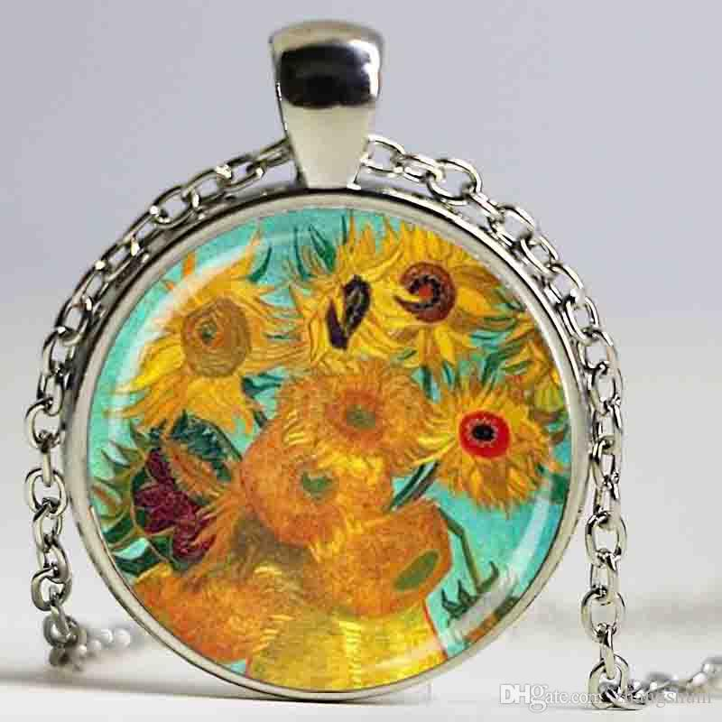 Colar de impressão de Van Gogh pintura colar flor arte ornamentos