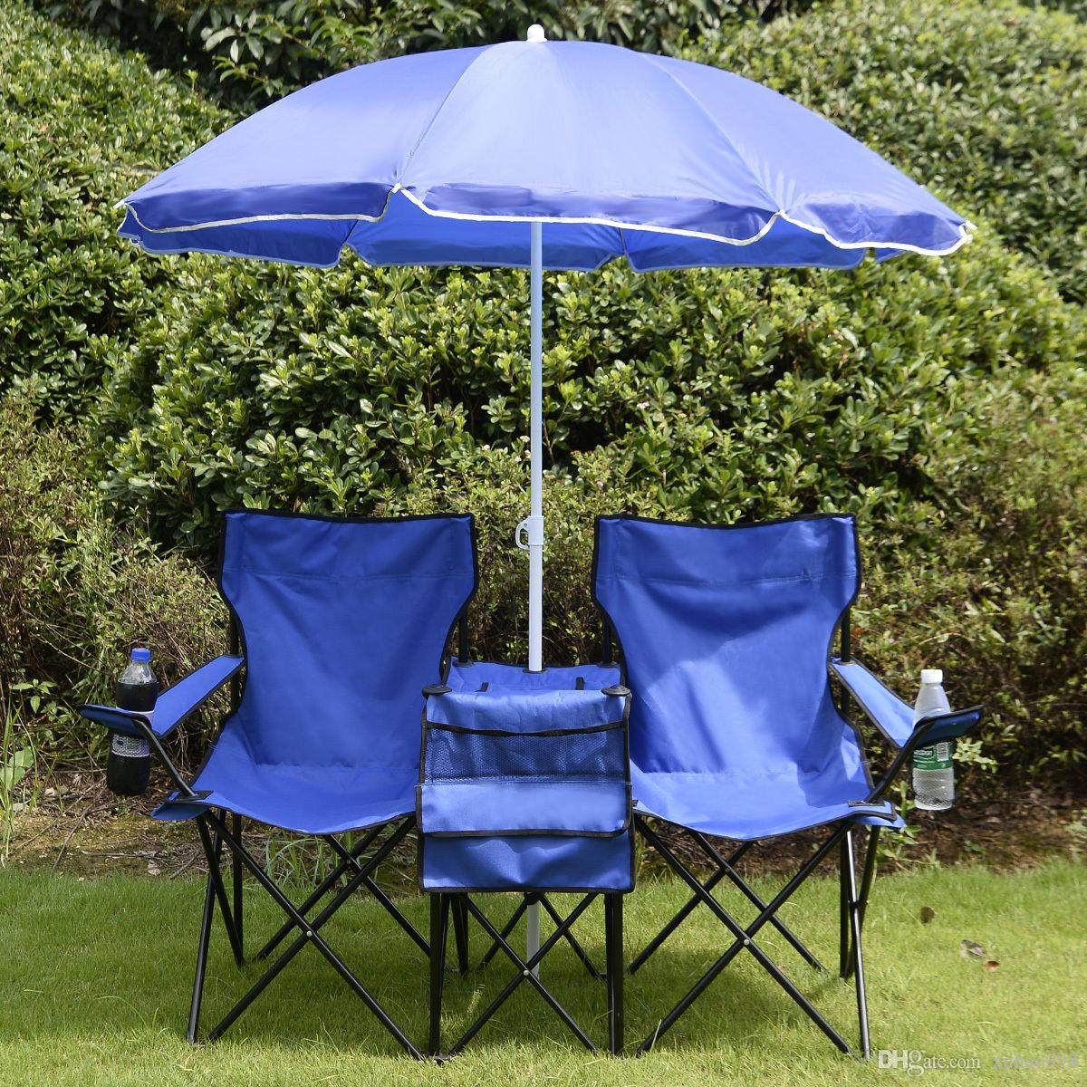 Chaise pliante double pique-nique portable W / Umbrella Table Cooler Plage Chaise de camping