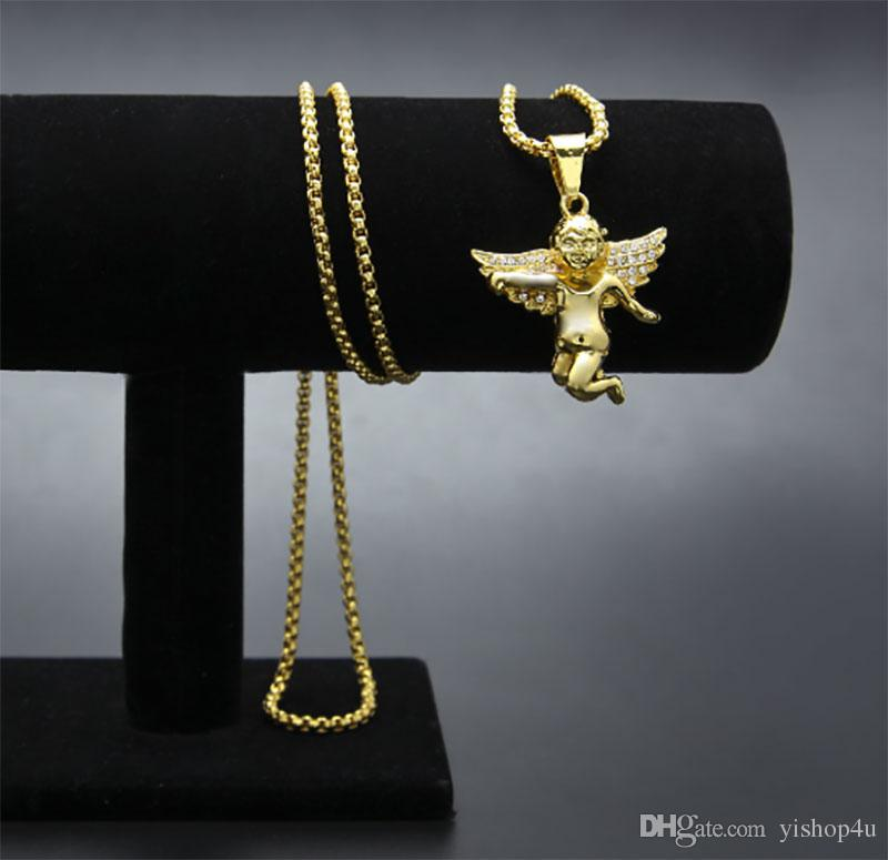 """Iced Out Micro Angel Pendant Necklace Gold Plated Zinc Alloy 24"""" Rope Chain Necklace Hip Hop Jewelry"""