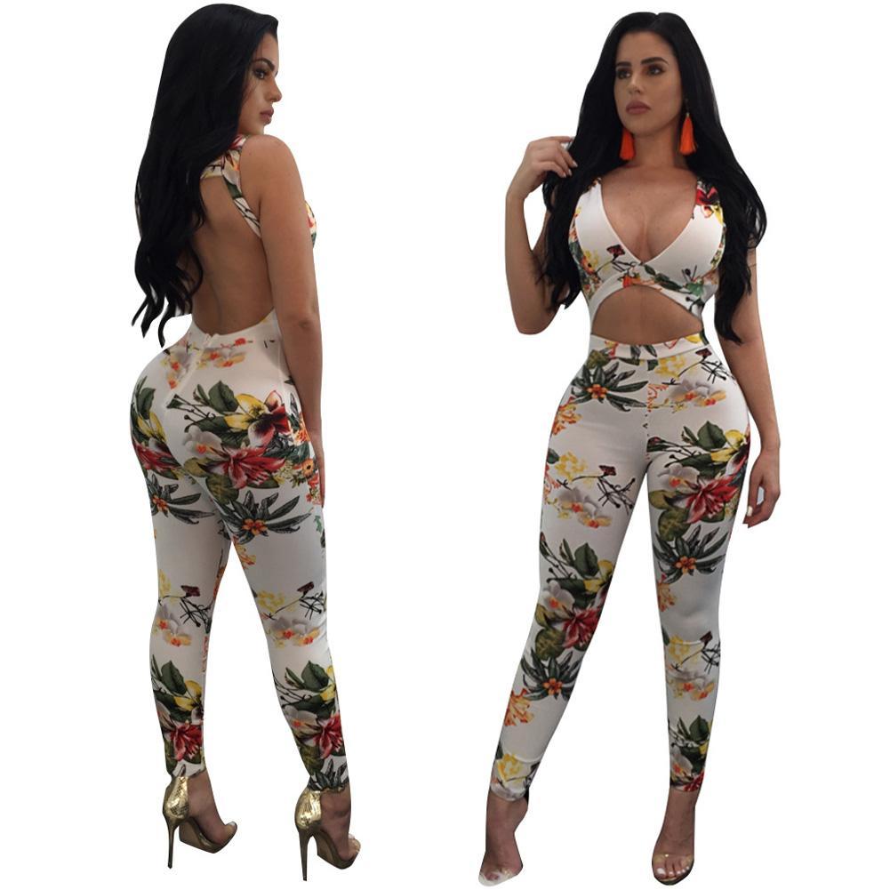 Sebaby Women Deep V Neck High Waist Bodysuit Ankle Length Romper