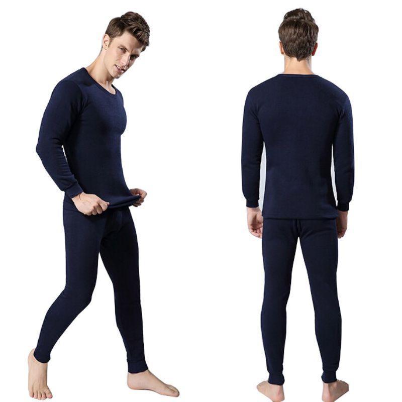 Winter Warm Men 2Pcs Cotton Thermal Underwear Set Thicken Long Johns Tops Bottom Navy Blue, Dark Gray, Light Gray