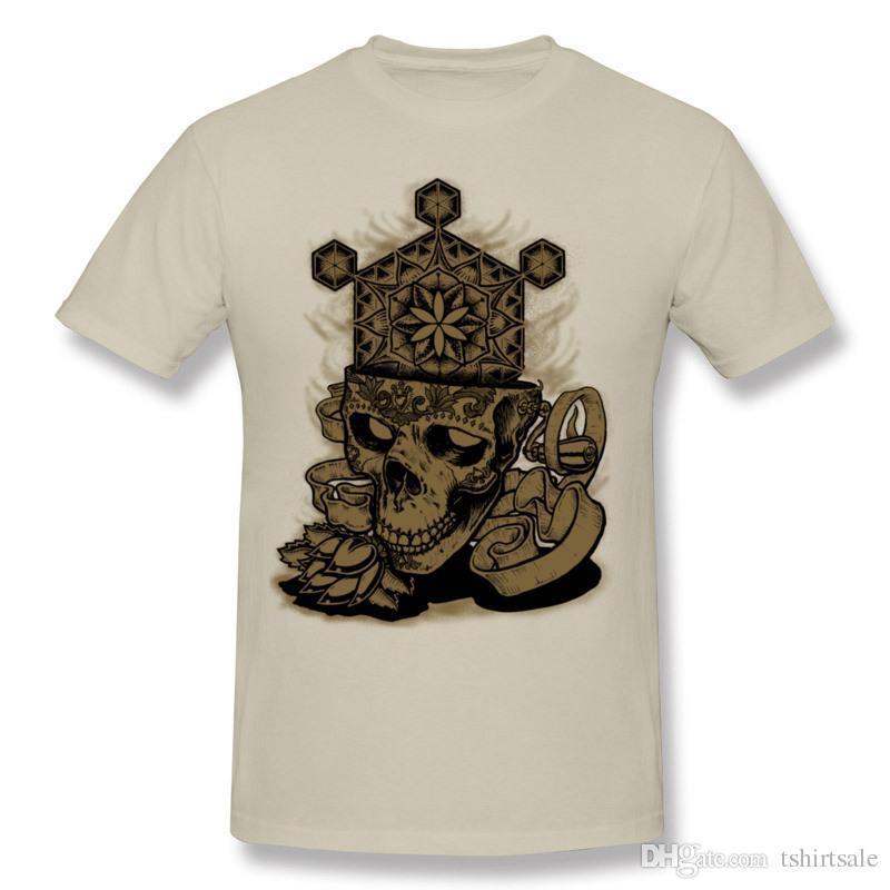 T-shirt Maker hommes s tee-shirts en vrac Fleur de vie crâne or unique T-shirt Designs pour homme T-shirt surdimensionné