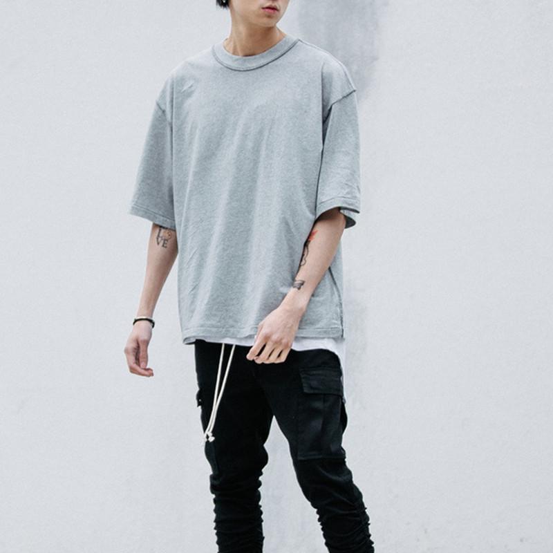 Toptan-Man streetwear T tarzı giyim erkek tişörtleri Extended / beyaz, gri / siyah büyük boy tişört homme hip hop yarım kollu tişörtün