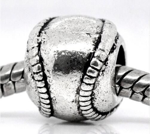 Antik silverton Metaller Baseball / Softball Charm Pärlor Passar European Armband 11x9mm Smycken Resultat 20st