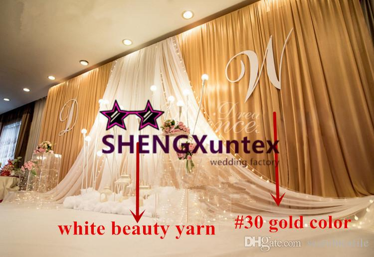 Gold Color Wedding Backdrop Curtain With White Drape
