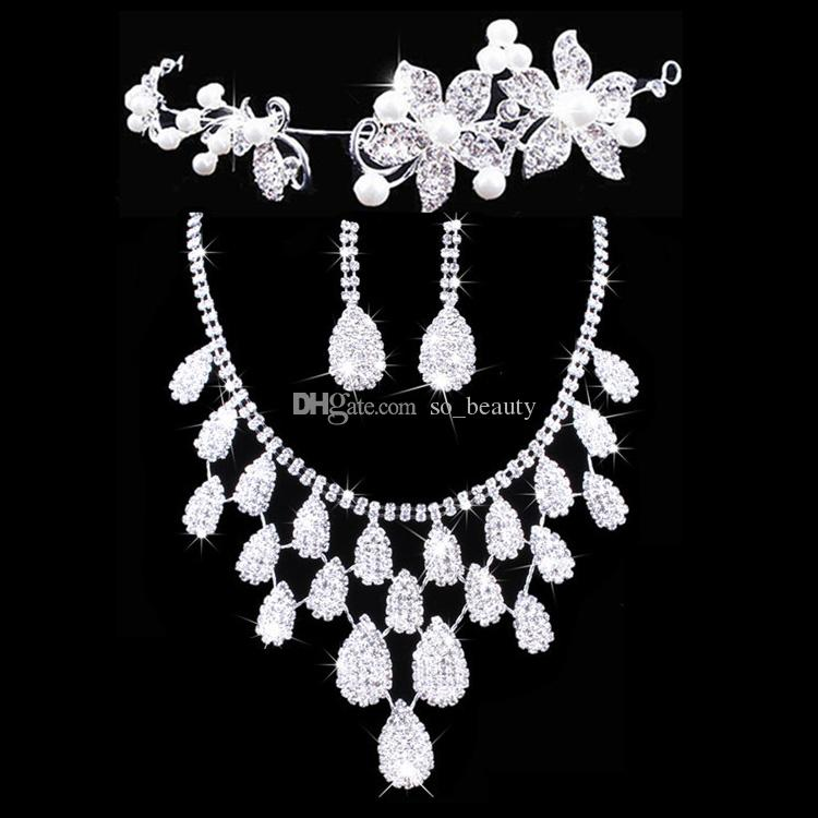 Twinkling Floral Bridal Crown Necklace Earrings Set Tiaras Bridal Jewelry Accessories Wedding Party Sets S002 Free Shipping