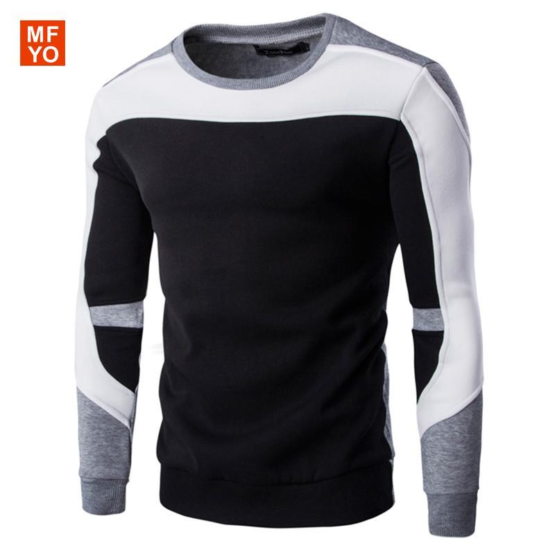 Commercio all'ingrosso- 2016 inverno cotone sweatershirt uomo marca jacquard ponticelli o collo pullover mens sweatershirt blusao masculino uomo cappotto