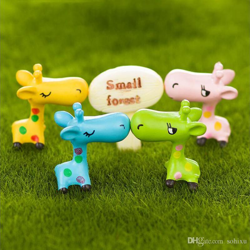 10pcs Kawaii Giraffe Figurines Fairy Garden Miniatures Bonsai Tools terrarium Dollhouse Ornament Kids Toys Zakka Gnome Home Accessories DIY