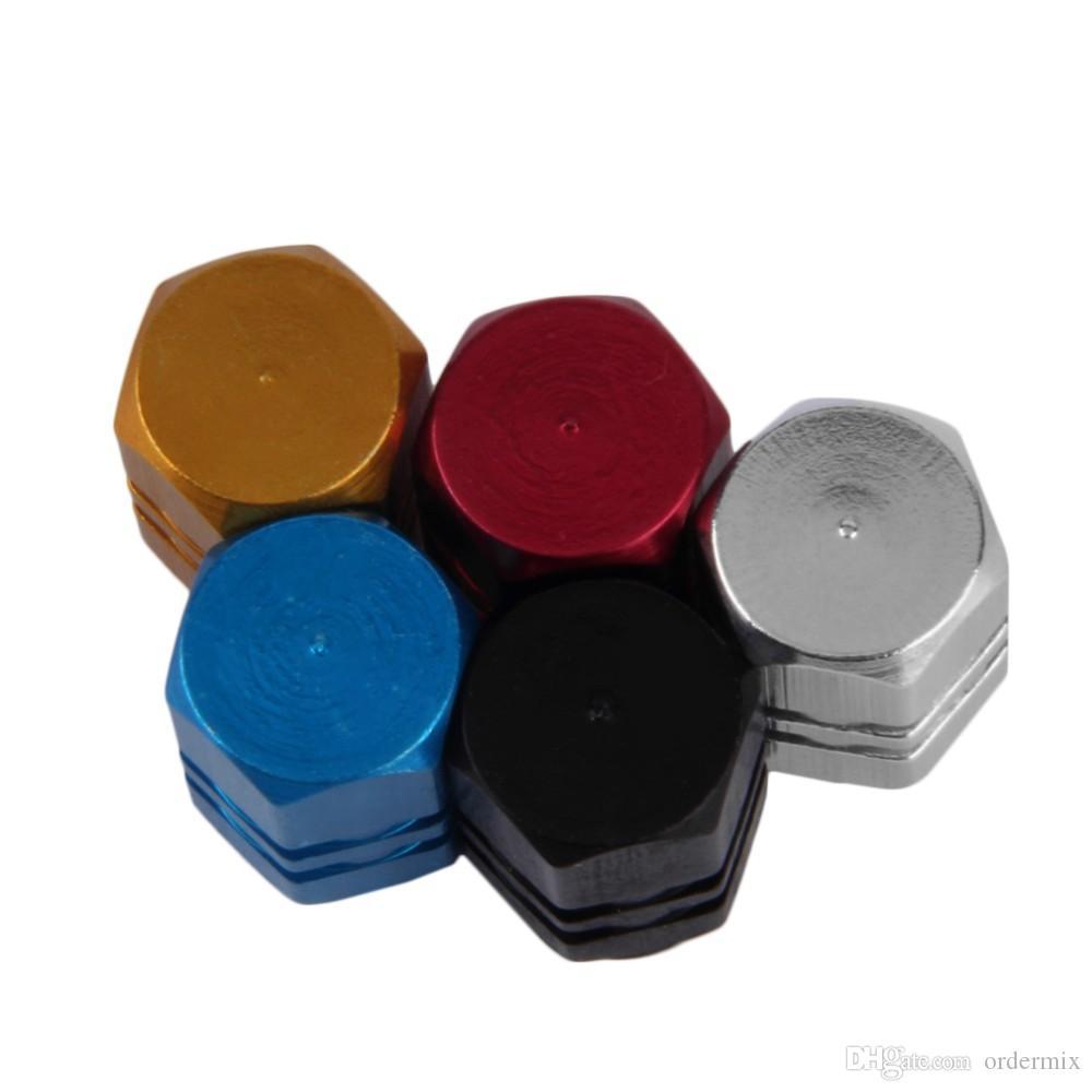 4pcs / 팩 Theftproof 알루미늄 자동차 휠 타이어 밸브 타이어 스템 공기 캡 기밀 커버 실버 컬러