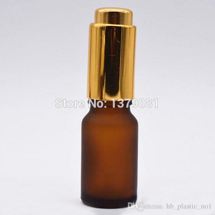 Botellas de vidrio ámbar esmerilado de 10 ml con cuentagotas de prensa Mini vial de muestra Botella de aceite esencial vacía Oro, plata Envío gratis